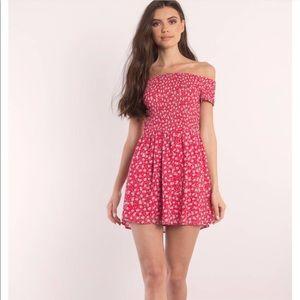 Tobi red floral off the shoulder dress